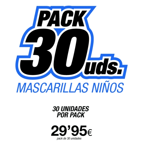 Pack 30 Uds Mascarillas Niño